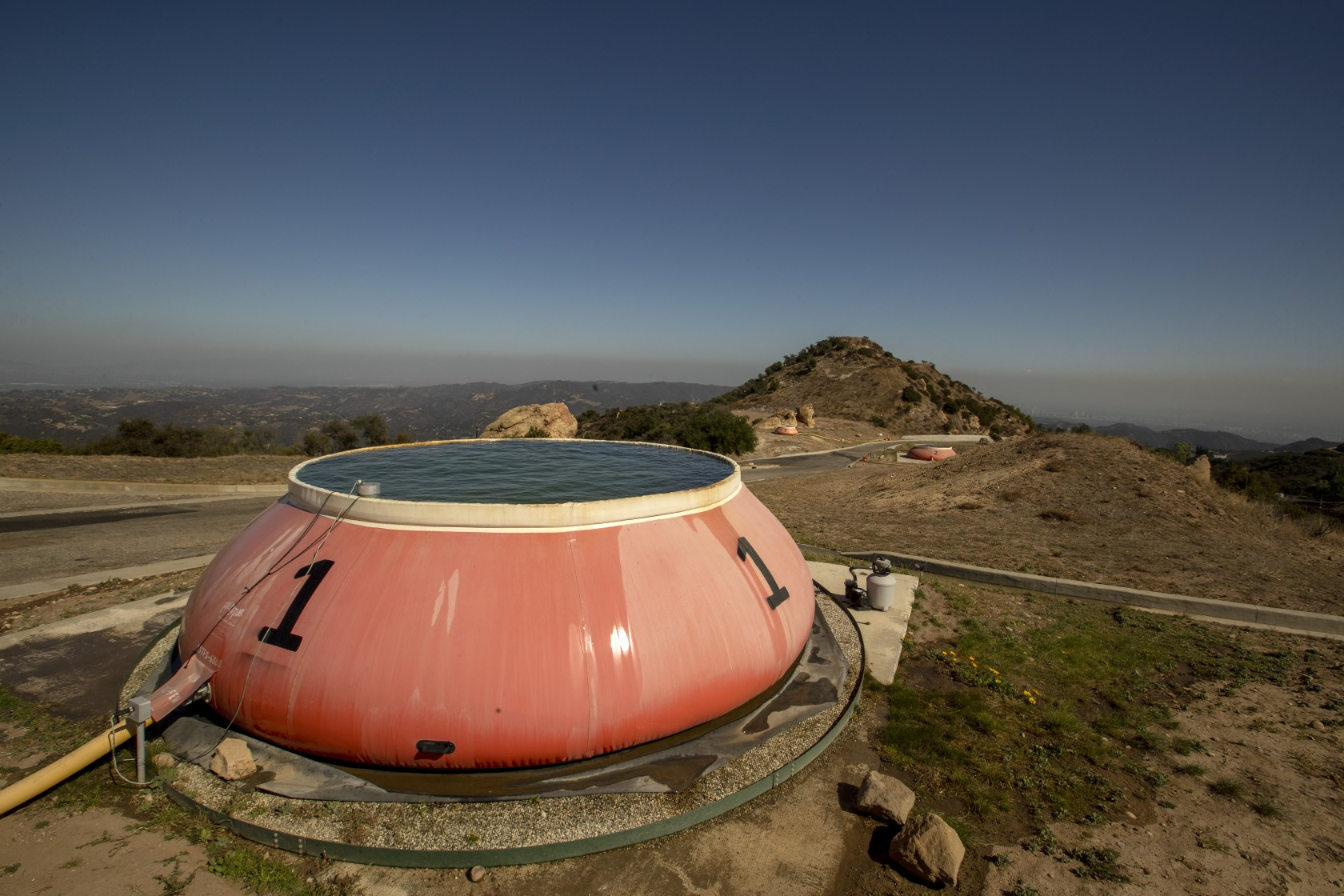 "A 6,000-gallon ""pumpkin"" at Los Angeles County helispot 69 Bravo, an outpost atop Saddle Peak in the Santa Monica Mountains."